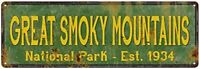 Great Smoky Mountains National Park Sign Rustic Metal Decor Tennessee Smokey