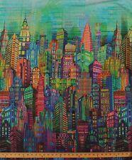 City Sky Line Cityscape Urban Rainbow Multi Cotton Fabric Print by Yard D486.07