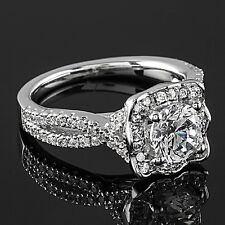 1.72 CT ROUND CUT DIAMOND HALO ENGAGEMENT RING 14K WHITE GOLD