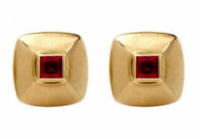 14 K Yellow Gold Men's Cufflinks With Natural Faceted Ruby Gemstone