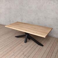 Diamond Light Solid Ash Modern Wood Dining Table Matt Black Legs