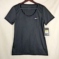 NIKE Women's Black DRI FIT T-Shirt Size Small Anti Odor Scoop Neck #903112 NEW!