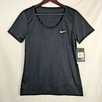 NIKE Women's Black DRI FIT T-Shirt Size Medium Anti Odor Scoop Neck #903112 NEW!