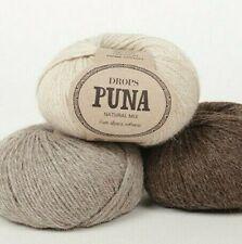 Pure Alpaca Yarn, DK Weight Knitting Yarn, 1.8 oz 120 Yards, Drops PUNA Natural