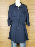 NEW Speed Control Navy Blue Cinch Waist Blouse Womens size Large L NWT