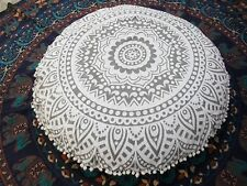 Large Round Floor Pillows Indian Mandala Throw Cushion Covers Bohemian Poufs 32""