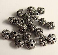Medium Oxidized Bali Sterling Silver Urchin Spacer Beads - 6x7.5 mm - 4 PCS