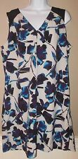 SIMPLY VERA WANG Size 16 Dress Butterfly Floral Bliss Blue V-Neck Sleeveless