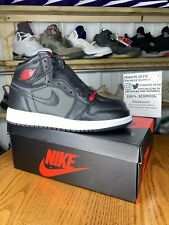 Air Jordan Retro 1 Black Satin Gym Red GS 575441-060 100% Authentic Grade School