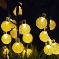 30 LED Solar String Ball Lights 20ft Outdoor Waterproof Warm White Fairy Lights
