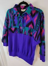 New listing Incredible Vintage Vibrant Southwestern Bat Wing Tapestry Sweatshirt Fit S or M