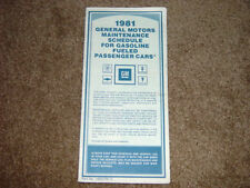 1980 Corvette/Trans Am Factory GM Original Maintenance Schedule GM# 14021731C
