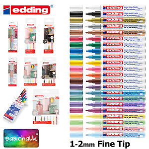 Edding 751 Paint Marker Pens, Fine 1-2mm Bullet Tip, Low Odour, 22 Colours,