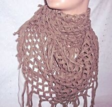 CREAM BROWN SCARF COWL INFINITY DIAMOND SOFT LONG NECK WARMER-WOMEN- YOUTH GIRL