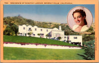 Vtg Residence Of Dorothy Lamour Actress Beverly Hills California CA Postcard