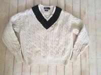 1960s Vintage Polo Ralph Lauren Tennis Cable Knit Plaid V-neck Sweater Size XL