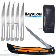 Havalon Knives Baracuta Edge Folding Pocket Knife Orange + Blades SHARP 127EDGE