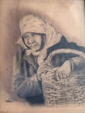 VALENTIN DARRIE, Original Charcoal on Paper, Old Woman Figure , Signed, 1956