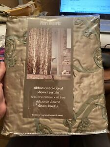 pier 1 imports ribbon embroidered shower curtain 2490852 Gold Taupe 72x72