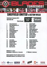 B1 Sheffield United v Aston Villa 08.01.11 FA Cup 3rd Round Team Sheet