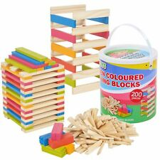 200 Pieces Classic Wooden Construction Building Blocks Bricks Kids Toy Set Xmas