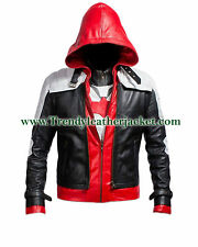 Red hood batman arkham knight 100% real leather jacket