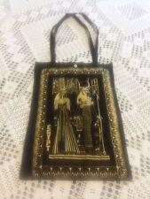 Vintage EGYPT CLEOPATRA NEFERTITI Tote Bag Black Gold 18 x13 King Tut 1970's