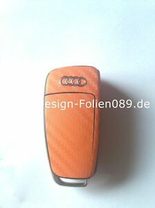 Carbon Orange Folie Dekor Schlüssel Audi TT A1 8J A6 A3 8p A4 4F S3 S4 B7 Q7 RS
