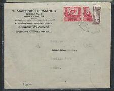 BOLIVIA (P2307BB) 1944 CHINCHILLA 60C+ BISECT SAME ON COVER TO CRURO