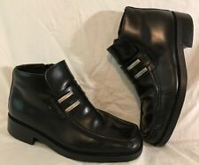 Kangol Black Ankle Leather Boots Size 8 (34Q)
