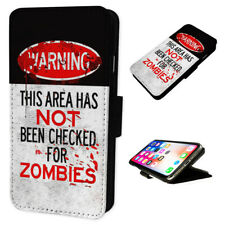Warning Zombies - Flip Phone Case Wallet Cover Fits Iphone & Samsung XR S10