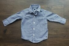 Janie and Jack Button-Down Navy and White Checked Dress Shirt Boys 6-12 Months