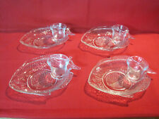 Set of 4 fish shrimp cocktail dishes with sauce cups, clear glass