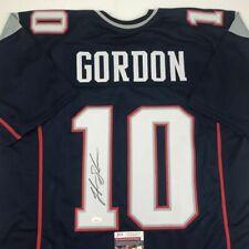 Autographed/Signed JOSH GORDON New England Blue Football Jersey JSA COA Auto