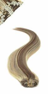 Full Head   Clip in Hair   18 inch   Light Brown Sunshine (P6/24)