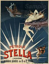 VINTAGE PETROLE STELLA FUEL FRENCH ADVERTISING A3 POSTER PRINT
