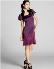 SALE - NwT - HALE BOB - XS - Fringed Silk Dress (plum)