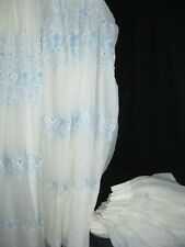"""Lot of 3 Blue/Creme Floral Sheer French TOILE Pinch pleat Drapes 48"""" x 92"""" Each"""