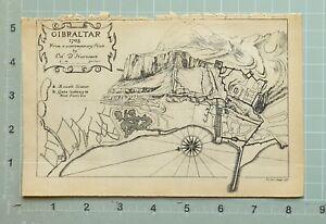 MAP/BATTLE PLAN GIBRALTAR 1705 ROUND TOWER GATE MAIN FORTRESS