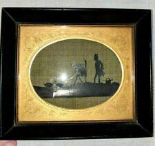 Antique Folk Art Silk Gilt Silhouette 2 Men Catching Butchering Ducks Geese