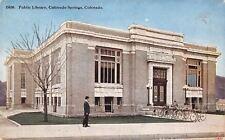 Colorado Springs CO~Carnegie Public Library~Dozen Bikes in Bicycle Rack~1910