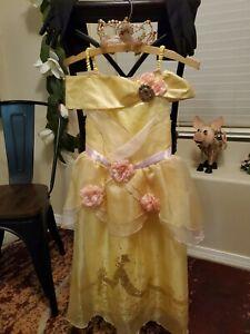 Disney Princess Belle 👸 Dress Up Lot Dress Crown Gloves Size S 5/6 💛