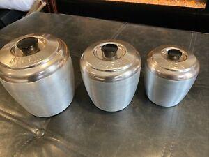 Lot of 3 Vintage Tin Kitchen Canister Set Copper Lids