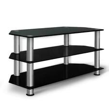 Artiss 3 Tiers Tempered Glass TV Stand - Black
