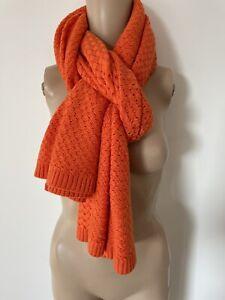 Bottega Veneta Orange Cashmere Wool Blend Woven Long Scarf