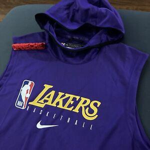 Nike NBA LA Lakers Game Player Issued Practice Sleeveless Hoodie XXL-TALL PURPLE