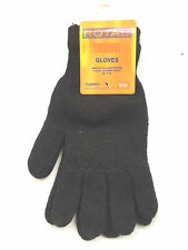 THERMAL GLOVES-MENS WINTER GLOVES-HEAVY KNIT GLOVES-BLACK  ONE SIZE