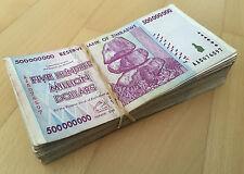 ZIMBABWE 100 X 500 MILLION DOLLAR USED CIRCULATED BANKNOTE P82 (100 PCS.) AA/AB