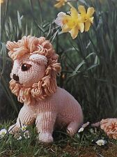 "Toy Lion Vintage Knitting Pattern Stuffed 10"" Tall Double Knit Wool"