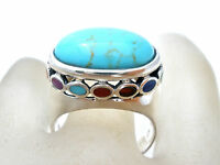 Sterling Silver Ring Size 7 Coral Turquoise Lapis Gaspeite Chariote Jewelry